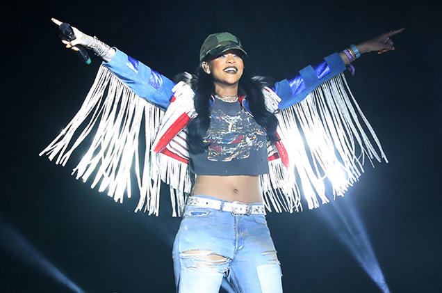 Rihanna takes the stage during Calvin Harris' Coachella set: KEVIN MAZUR/GETTY IMAGES FOR COACHELLA